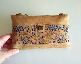 Wristlet bag, cork bag,vegan gifts boho bag handbag,shoulder bag,purse,eco friendly gifts,makeup bag,bohemian,girlfriend gift,cross body bag