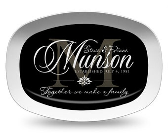 Personalized Black Monogram Melamine Platter, Wedding Date Serving Platter, Black Wedding Platter, Personalized Serving Tray, Tableware