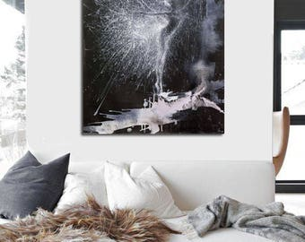 Gift for Her Acrylic painting, Black and White Painting, Canvas Ballerina Original Artwork Modern Art Giselle by Yuri Pysar