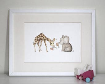 Nursery Wall Art, Nursery Decor, Safari Nursery, baby elephant plays with baby giraffe