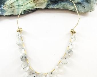 Rutilated Quartz Briolette Necklace