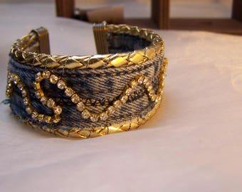Denim and rhinestone magnet clasp Cuff Bracelet