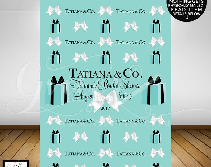 Breakfast themed Step and repeat banner backdrops, breakfast at bridal shower, blue photo back drops, wall 5feet x 7feet. PRINTABLE