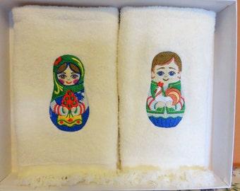 Matryoshka (Babushka) Nesting Doll Embroidered Finger towel set of 2