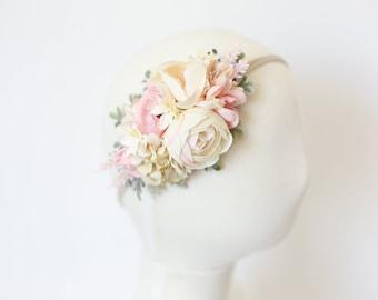 baby flower crown headband, baby headband, blush pink flower headband, first birthday crown, couture headband, newborn headband prop