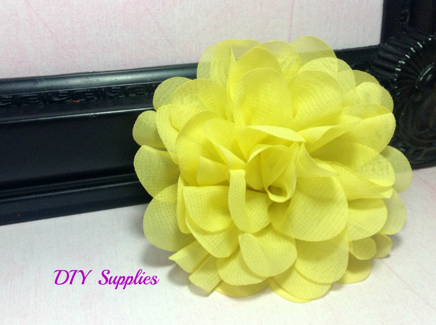 Yellow Chiffon Scalloped Flower Diy Headband Fabric