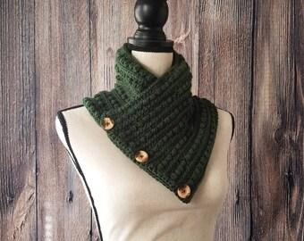 Green Buttoned Cowl - Neckwarmer - Green Scarf - Green Cowl - Crochet Cowl - Neck Warmer - Button Cowl - READY TO SHIP