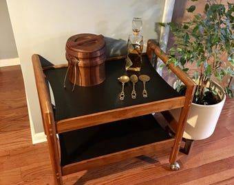 Mid Century Inlaid Walnut Two-Tier Bar Cart On Casters