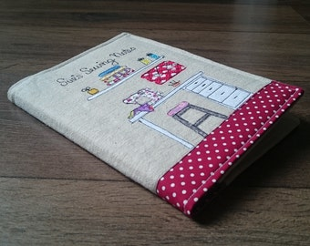 Handmade Sewing Notebook / Journal Cover with A5 Hardback Notebook - Sewing Journal - Applique - A5 Notebook Cover - Family Heirloom