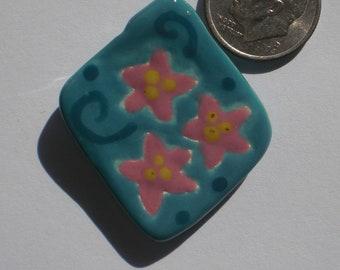 Turquoise Earthenware Pink Starflower Pendant