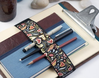 Large Journal Bandolier // birds & hearts // (a better pencil case, journal pen holder, book strap, pen loop, pencil roll, pen bandolier)