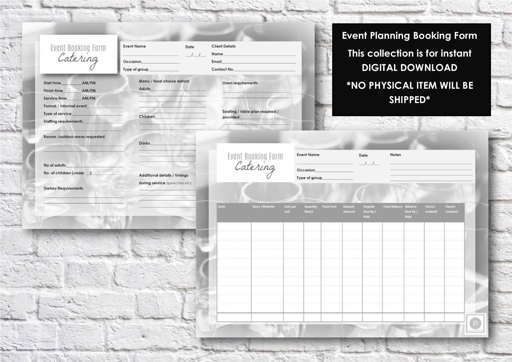 Event & Party Catering Booking Form Template Planning
