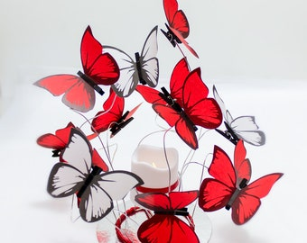 Wedding Centerpiece/candle centerpiece,red decor,party decor butterfly,red / white decor,white butterflies,wedding table,fantasy,Bat mitzvah