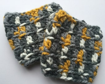 Yellow and Gray Boot Cuffs Boot Toppers.  Wear at the top of your boots to give a boot sock effect without all the bulk.  Free shipping