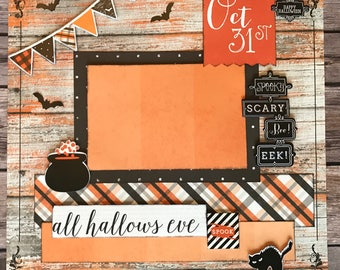 All Hallows Eve - 12x12 Scrapbook Page Layout DIY Kit