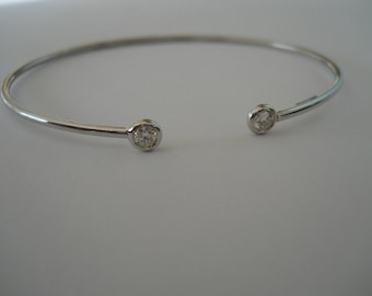 Made to order 18K White Gold and Diamond Bangle