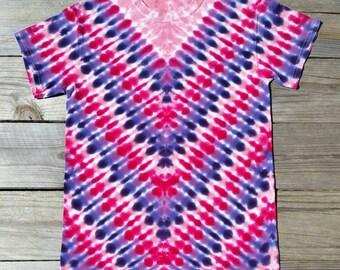 Small Women's Tie Dye Shirt, Pink and Purple Tie Dye Tshirt,  Ladies Tie Dye, Tie Dye Tee, Hippie Shirt