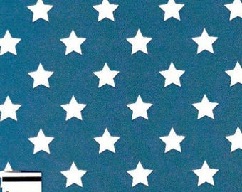 Blue stars cotton fabric white by 10 cm