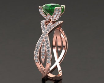Emerald Rose Engagement Ring 1.50 Carat Emerald And Diamond Ring In 14k or 18k Rose Gold Style Number SW4GR