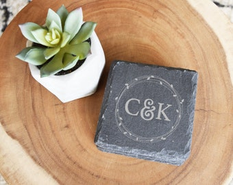 Custom Coasters, Personalized Coasters, Housewarming Gift, Wedding Gift, Present, Bridal Shower, Engagement Gift, Engraved, Slate Coasters