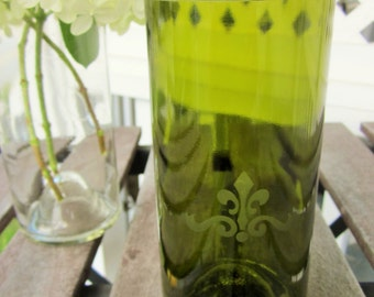 Upcycled Olive Green Wine Bottle Glass