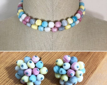 50s Vintage Pastel Multicolor Bead Double Strand Choker Necklace with Matching Clip Earrings Set, Made in Japan