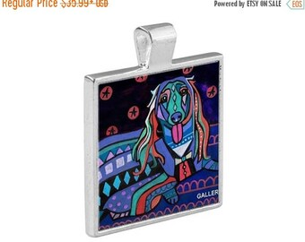 SALE ENDING- Long haired Dachshund Necklace Doxie Dog Folk Art Jewelry - Pendant Metal  Gift Art Heather Galler Gift-  Weiner Dog Lovers A