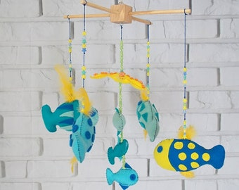 Fish Baby Mobile Underwater Crib Mobile Unisex Felt Fish Baby Mobile Blue and Yellow Nursery Decor Baby Shower Gift Newborn Gift Cot Mobile