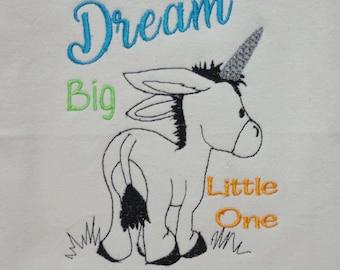 Dream Big Little One Donkey Unicorn Embroidery Digital File