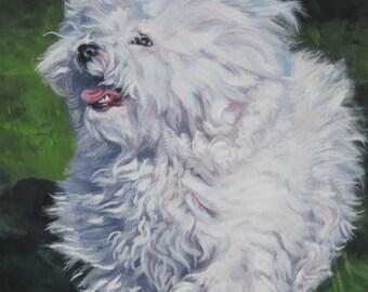 Bichon Bolognese dog art CANVAS print of LA Shepard painting 12x16
