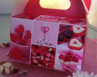 5 box / gift box in paper with hearts