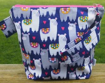 Alpaca/Llama Zippeered Pouch Knititng/Crochet Project Bag/ Pockets/ Measuring Tape