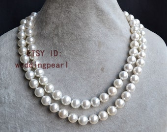 off white pearl necklace, 35 inch 10mm shell pearl necklace, bridesmaid necklace, wedding necklace,long pearl necklace, pearl long necklace