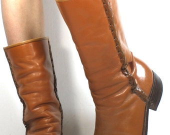 Vintage campus fashion orange brown low heel woven mid calf western womens Leather boots womens 10 B M
