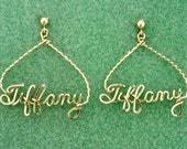 Personalized Triangle Name Earrings in Gold Wire Script
