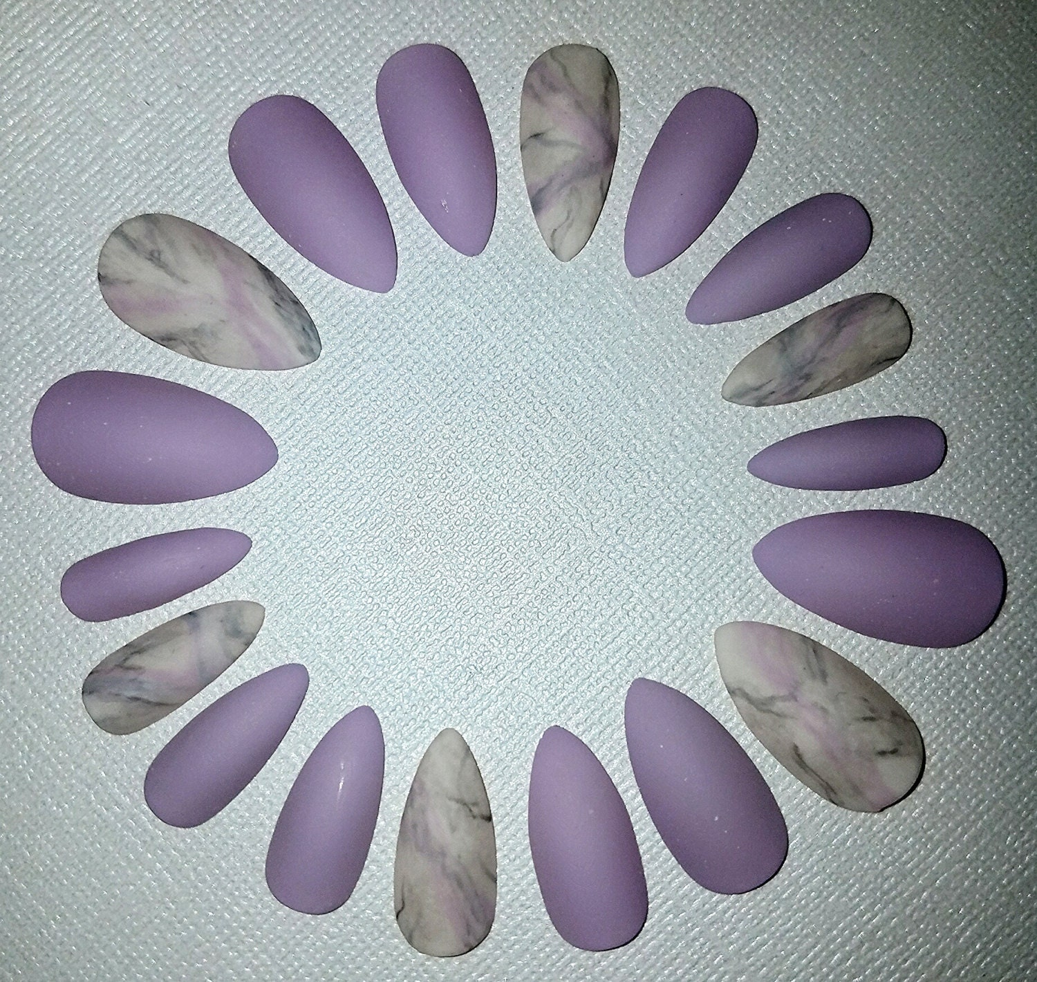 Lilac Marble Stiletto Nails- Matte Nails- Fake Nails- False Nails ...