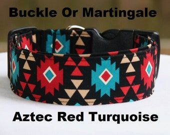 Aztec-Navajo-Red Turquoise-Adjustable Buckle-Martingale Dog Collar-Small-Large Breed Dog-1 inch 1.5 -2 inch width-Traffic-Dog Leash