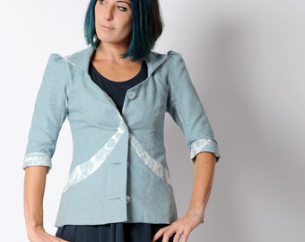 Blue womens jacket, Blue and off-white fitted jacket, Office fashion, Womens clothing, Light blue jacket, MALAM