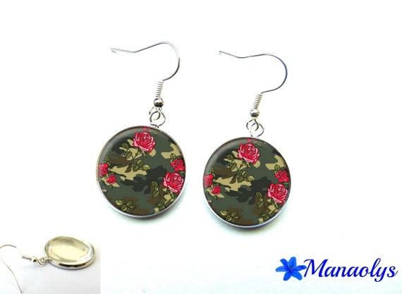 Earrings pink and camouflage pattern 2926 glass cabochons