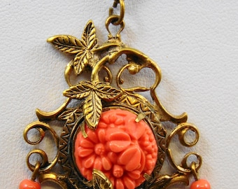 Faux Coral Pendant Necklace in Brass