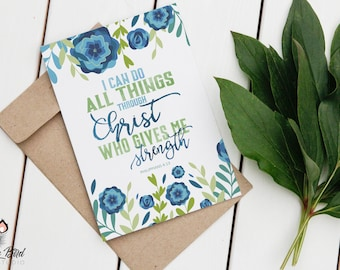 I can do all things through Christ Philippians 4:13 Sign or Card | Instant Download | 5x7 8x10 11x14 | Print it yourself! | Instant Download