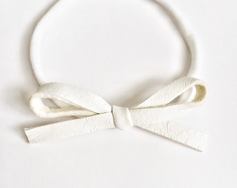 White LARGE Leather Bow One Size Fits All Elastic Blessing Baptism Photo Prop for Newborn Baby Little Girl Child Headwrap Pretty Bow