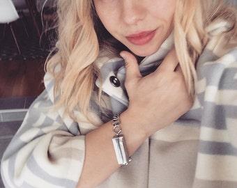 Fitbit Flex Bracelet: SILVER Id tag with chain link bracelet for FitBit Flex Jewelry! Tech wearable, tech savvy, wearable tech jewelry