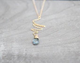 Aquamarine Necklace , Gold Y Drop Lariat ,  Layering Minimalist , Moss Aquamarine March Birthstone , Rose Gold , Sterling Silver
