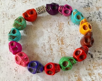 Skull Bracelet Multi Colored Stretchy Beaded