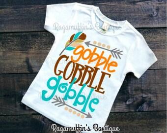 Thanksgiving shirt, Gobble Gobble shirt, boys thanksgiving shirt, trendy shirt, trendy boys shirt, trendy boys shirt, boys fall shirt
