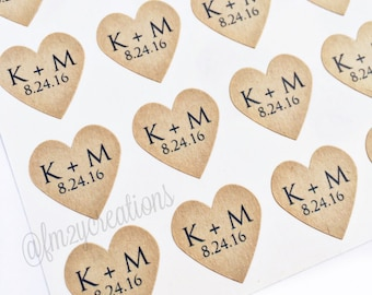 """CUSTOM Heart Stickers--108 Kraft Heart Stickers, 3/4"""" Heart Stickers, Envelope Seals, Wedding Label, Gift Wrapping, Thank You Sticker"""