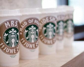 Starbucks Bridesmaid Gift, Bridal Shower Gift, Bridesmaid Proposal Gift, Personalized Starbucks Cup, Wedding Party Gift, Bridal Party Gift