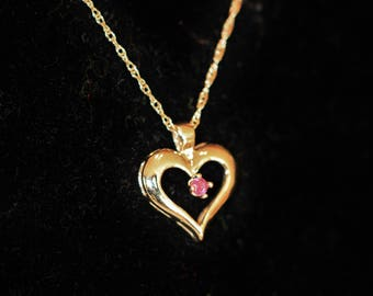 14k Yellow Gold Heart with Genuine Ruby