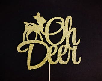 Oh Deer Cake Topper, Oh Deer Baby Shower, Deer Baby Party, Woodland Baby Shower Topper, Christmas Cake Topper, Winter Party, Xmas Decoration